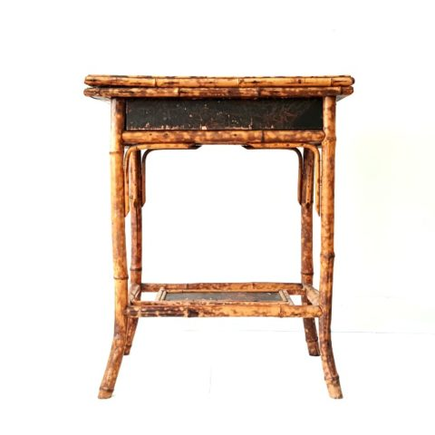 Vintage Chinoiserie Bamboo + Lacquer Side Table | Games Table